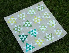 Paper piecing! Love the colors and the double stacked triangles.
