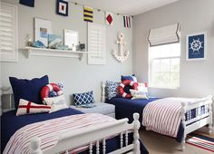 Interior Design Ideas - Blue Sailor Themed Boys Bedroom Home Decor Ideas Bedroom Kids, Home Decoration Diy, Home Decoration Products, Home Decoration Diy Ideas, Home Decoration Design, Home Decoration Cheap, Home Decoration With Wood, Home Decoration Ideas. #decorationideas #decorationdesign #homedecor