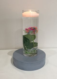 Straight vase centrepiece, 20cm tall with multi-coloured rose,  glass beads and floating candle #piecesandposies