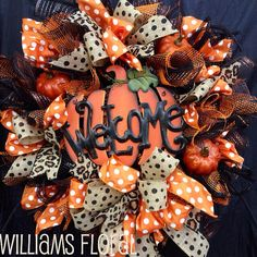 Welcome Fall Mesh Wreath on Etsy, $95.00