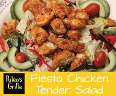#Puleosgrille #fiesta #chickentender #salad. It's a party in your mouth! Golden fried #chicken tenders glazed with a sweet chili sauce served over mixed greens and tossed with black bean corn salsa, tortilla strips, vegetables, and creamy ranch!