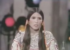 Activist and actress Sacheen Littlefeather speaks at the Academy Awards in March 1973 in protest of the treatment of Native Americans in the film industry and by the federal government. Still image from Oscars / YouTube