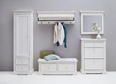 Garderobenleiste Elsa Massivholz / Kiefer weiß passend zum Möbelprogramm Elsa 1 x Garderobenleiste mit 1 Hutablage 1 Kleiderstange und 4 Kleiderhaken Maße: B/H/T ca.... #flur #garderobe