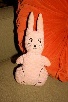 SOLD!  Sweet Vintage Folk Art Toy Stuffed Pink Bunny Rabbit by poetsy, $16.00