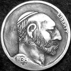 DAVID JONES HOBO NICKEL - 1936 BUFFALO PROFILE. Hobo Nickel, David Jones, Buffalo, Coins, Photograph, Carving, Profile, The Originals, Photography