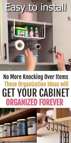 Small Kitchen Organization, Diy Kitchen Storage, Organize Kitchen Cupboards, Kitchen Cabinet Organizers, Diy Kitchen Decor, Kitchen Hacks, Layout Design, Small Space Storage, Diy Storage For Small Spaces