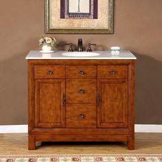 """Silkroad 42"""" Transitional Single Sink Bathroom Vanity"""