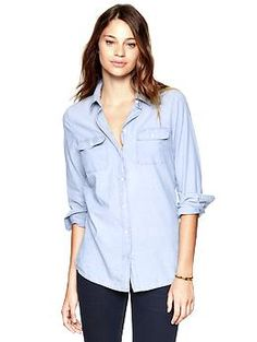 I want this almost as bad as I want those boots from Aldo. I would wear this light chambray button-up tucked into a pair of dark skinny jeans (preferably @Gap), a red belt, and either leopard loafers or wedge oxfords.