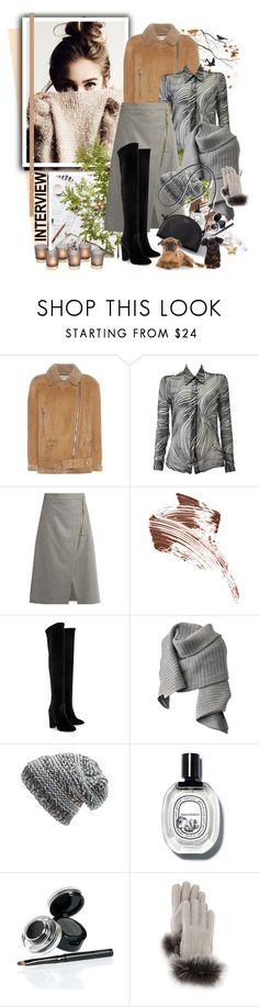 """""""INTERVIEW***"""" by ksenia-lo ❤ liked on Polyvore featuring Acne Studios, Versace, Bobbi Brown Cosmetics, Aquazzura, O'Neill, Laneige and UGG"""
