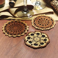 Crochet coaster patterns- Safari coasters| Crochet thread e patterns- LeisureArts