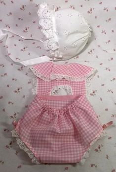 """Fresh Pink Gingham Sun Suit and Bonnet for 20"""" Dy-Dee Lou Blue Daisy, Pink Gingham, Onesies, Rompers, Suits, Clothes, Fashion, Outfits, Moda"""