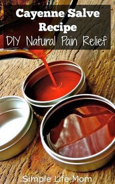 An easy DIY for natural pain relief using this organic cayenne salve recipe. Gre… An easy DIY for natural pain relief using this organic cayenne salve recipe. Great for joint pain and muscle pain. It reduces inflammation and relaxing. Natural Health Remedies, Natural Cures, Natural Healing, Herbal Remedies, Natural Treatments, Natural Foods, Natural Beauty, Holistic Healing, Cold Remedies