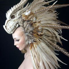 MADE TO ORDER Dragon Warrior feather mohawk headdress headpiece tribal fantasy Larp cosplay Costume Ange, Mode Costume, Dragon Warrior, Headgear, Larp, Costume Design, Wearable Art, Character Inspiration, Style Inspiration