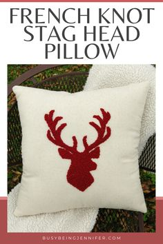 French Knot Stag Head Pillow - The look and texture of this French Knot Stag Head Pillow is divine! And you can recreate it for yourself! Christmas Pillow, Christmas Time, Pattern Photography, Abstract Photography, Embroidered Flowers, Flower Embroidery, Embroidery Stitches, String Art Patterns, Stag Head
