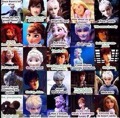 Elsa, Jack Frost, Anna, Rapunzel, Hiccup Comic part ok this is getting a bit wird Elsa Frozen, Frozen Love, Frozen And Tangled, Frozen Disney, Jelsa, Disney And Dreamworks, Disney Pixar, Walt Disney, Disney Characters