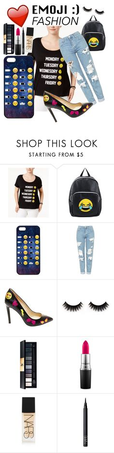 """Emoji Fashion 💗😝😃"" by paige2206 ❤ liked on Polyvore featuring Freeze 24-7, Olivia Miller, Topshop, Betsey Johnson, MAC Cosmetics, NARS Cosmetics and plus size clothing"
