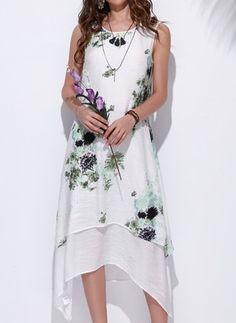 Baumwolle Leinen Blumen kurze Ärmel Asymmetrische Lässige Kleidung Kleider (1040546) @ floryday.com