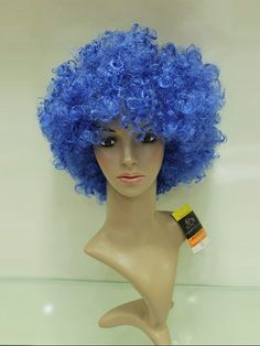 Wholesale 10 Inch Capless Blue Synthetic Hair Football Fan Wigs