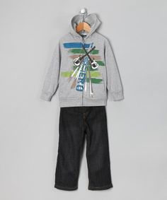 Gray 'Rock Hero' Zip-Up Hoodie & Jeans - Infant, Toddler & Boys