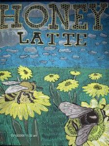 Honey Latte bee chalk art