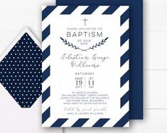 Boy Baptism Invitation | Navy Baptism Invitation Boy | Baptism Invite | Christening Invitations | Baptism Invitations Printable | Navy and White Invite your loved ones to join you in celebrating your childs baptism with this elegant navy and white 5 x 7 inch digital invitation featuring a deep navy stripe with a coordinating navy back design. This invitation will be personalised with your custom text for your special event. I will then send you a message via Etsy/email with a proof of ... Baptism Invitation For Boys, Christening Invitations Boy, First Communion Invitations, Baby Boy Baptism, Baptism Party, Baptism Ideas, Baby Christening, Baby Baby, Digital Invitations