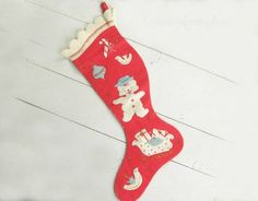 Your place to buy and sell all things handmade Felt Christmas Stockings, Red Felt, Vintage Home Decor, Hand Stitching, Awesome, Amazing, 1950s, Applique, Objects