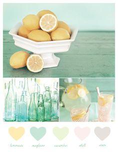 lemonade + seaglass color palette #wedding