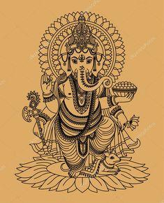 Vecteur : Indian god Ganesha For gidgets table I'm making her Arte Ganesha, Pintura Ganesha, Ganesha Drawing, Lord Ganesha Paintings, Ganesh Tattoo, Hindu Tattoos, Indian Gods, Indian Art, Tattoo Ideas