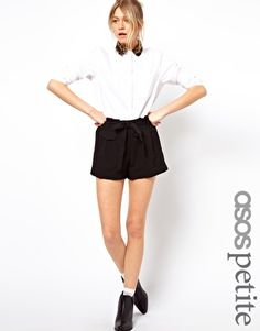 ASOS PETITE Belted Shorts With Turn Up