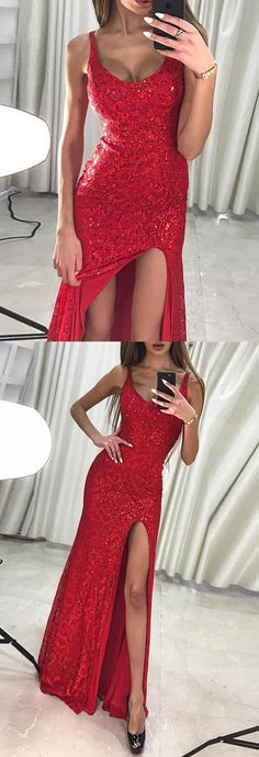 modest red long prom dresses with sequins, unique mermaid party dresses with split, chic long evening gowns