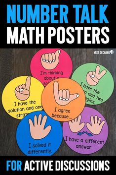 Get students actively involved in your math discussions with these number talk hand signal posters. They can be used during math discussions, number talks, and during math meetings. Math Classroom, Kindergarten Math, Teaching Math, Number Talks Kindergarten, Teaching Ideas, Classroom Ideas, Fourth Grade Math, Second Grade Math, Grade 2