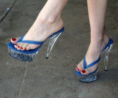 VIP 6 inch Denim Thin Thong Mule High Heel Platform Sandal Foot Fetish Women Shoes (Available on other high heel bottoms) Sexy High Heels, Sexy Legs And Heels, Hot Heels, Platform High Heels, Sexy Zehen, Gorgeous Feet, Sexy Toes, Women's Feet, Me Too Shoes