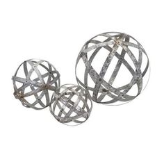 """Set of 3 Industrial Chic Rustic Galvanized Metal Round Ball Spheres Table Top Decor 12"""" - Walmart.com"""