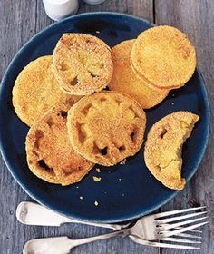 fried green tomatoes isn't just a movie, replace the eggs with water and flax seed mixture and it is vegan!
