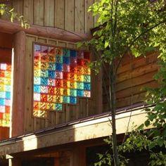 colorful glass block window