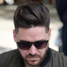 Long Textured Quiff with Shape Up and Beard