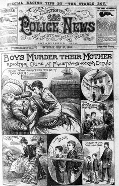 """The Illustrated Police News """"Boys murder their mother"""""""