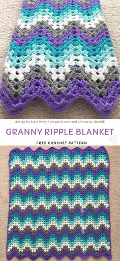 This sweet, colorful granny blanket is a combination of stunning colors, that aren't seen together often enough. It's an easy project, great to relax after a long day at work. Crochet Afghans, Crochet Ripple Afghan, Afghan Crochet Patterns, Crochet Stitches, Knit Crochet, Baby Afghans, Free Crochet Blanket Patterns, Crochet Owls, Crocheting Patterns