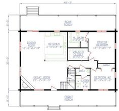 first floor plan of cabin vacation house plan 20003 | cottage