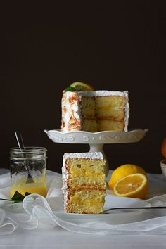 Lemon Chiffon Cake with Lemon Curd and Toasted Meringue Frosting