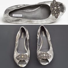 """Vera Wang Hidden Wedge Antique Silver Lanelle Flat Stunning antique silver 'Lanelle' hidden wedge flats. Intricate antiqued crystals & beads elevate a leather flat cut with an open toe. There are 2 pear shape stones missing from the right shoe & 1 from the left, definitely doesn't detract from the whole appliqué detail. Has a little bit of a padded footbed. Shows all the wear on the front by toes & the soles but still have a lot of life left. Has approx 1"""" wedge. Size 7.5. NOT from…"""