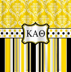 Personalized Damask and Stripe KAO Shower Curtain - Combination Damask, Stripes and Dots in Kappa Alpha Theta Colors