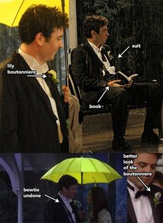 Costume Guide - Die-hard Ted / Robin shippers beware: this is a couple costume idea for Ted Mosby / Tracy McConnell (the mother) during HIMYM's epic yellow umbrella rain scene! Ted And Tracy, Ted And Robin, Ted Himym, Love Tv Series, How Met Your Mother, Ted Mosby, Movie Facts, Olivia Wilde, I Meet You