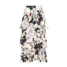 Erdem Simone Forget Me Not-print silk-crepe skirt ($1,480) ❤ liked on Polyvore featuring skirts, erdem, white multi, patterned skirts, white knee length skirt, tiered ruffle skirt, print skirt and zipper skirt