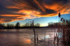 Most Beautiful Places In Colorado <><> Sunset Over Confluence Pond In Fort Collins, Colorado by Steve Barge