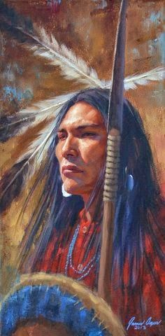 "James Ayers, presents ""The Warrior's Gaze"", featuring a Cheyenne warrior with spear, shield, and war shirt. Ayers paints Cheyenne and other Native American tribes. Native American Warrior, Native American Beauty, American Indian Art, Native American Tribes, Native American History, American Indians, Native Americans, American Symbols, American Women"