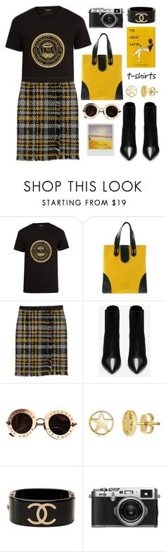 """""""Black & Yellow"""" by pure-vnom ❤ liked on Polyvore featuring Balmain, Antonio Marras, Yves Saint Laurent, Gucci, BERRICLE, Chanel and Fujifilm"""