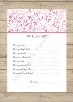 Wishes for Baby Girl - Baby Shower Ideas - Baby Shower Games - DIY Printable - Girl Baby Shower - Floral Baby Shower