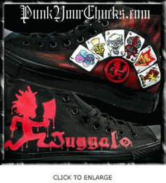 Insane Clown Posse Custom Converse Sneakers Juggalo Family, Emily The Strange, Insane Clown Posse, Gear 3, Custom Converse, The Rev, Band Merch, Converse Sneakers, Shoe Boots