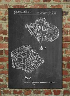 Harley Engine Head Poster, Harley Engine Head Patent, Harley Engine Head Print, Harley Engine Head Art, Harley Engine Head Decor